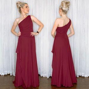 Davids Bridal Wine Long Bridesmaid Dress Georgette